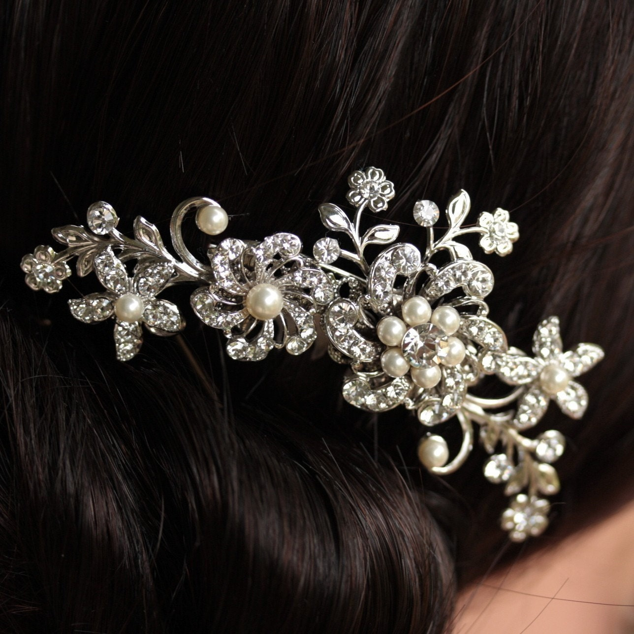 Bridal Hair Comb, Swarovski, Rhinestone, Ivory Pearl, Vintage Floral Glamor, SABINE