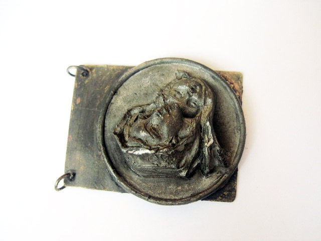 Maria. Antique Carved Medal and Brass Pendant. Religious Token.