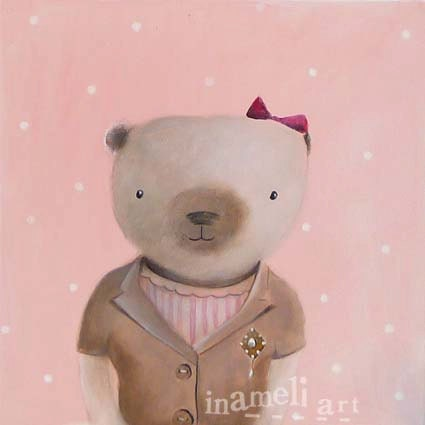 Kids wall art illustration, childrens room decoration,  nursery animal art, pink Teddy Bear original paintig - inameliart