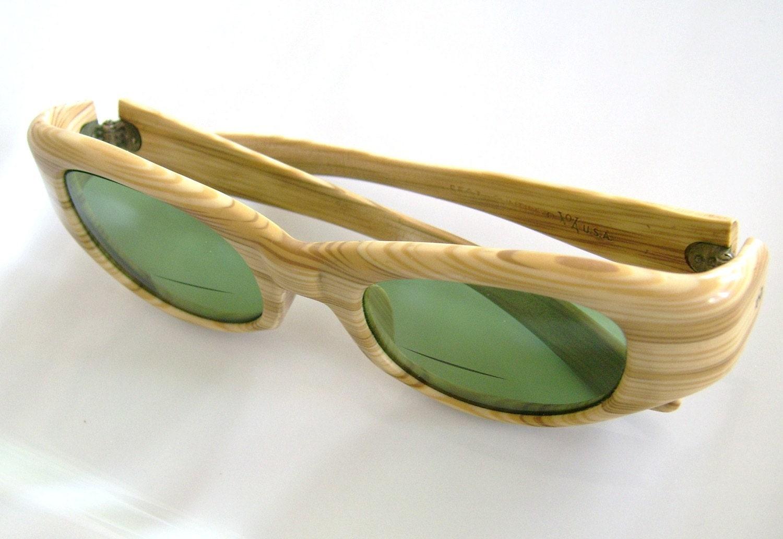 Vintage Faux Bois Cat Eye Green Glass Sunglasses