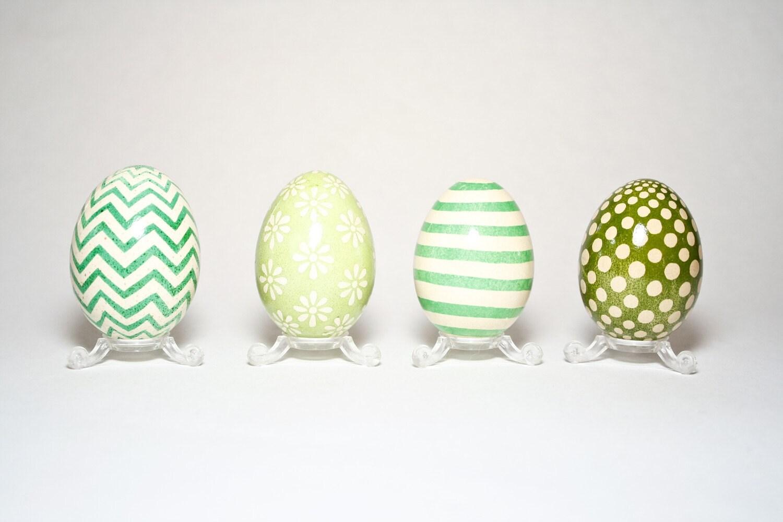 Set of 4 Easter Bantam Eggs - Shades of Green