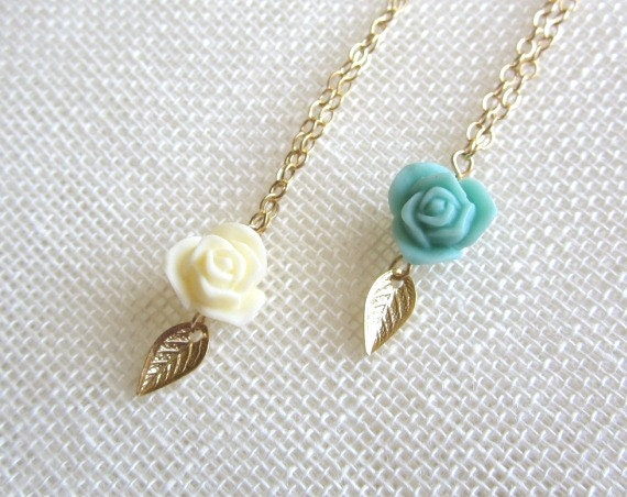 Rose Necklace with Tiny Gold Leaf, vintage inspired, sweet romantic dainty everyday wear, wedding jewelry - Yameyu