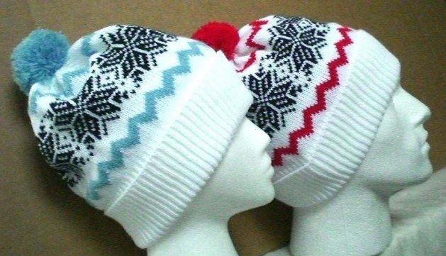 Custom made/knit/knitted RETRO/ VINTAGE STYLE snowflake bobble ski hat- NEW TO ORDER- CHOOSE YOUR OWN COLOURS