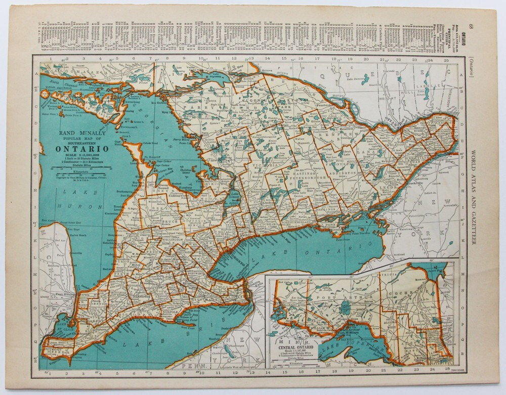 map of ontario and quebec. 1941 Ontario and Quebec - Vintage World Map. From OldTimersClub