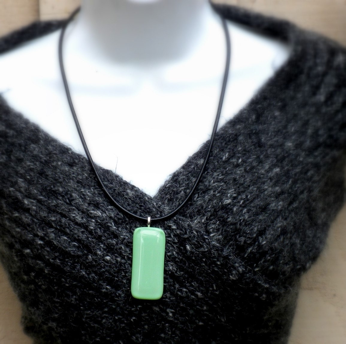 Marvelous Mint - handmade fused glass necklace