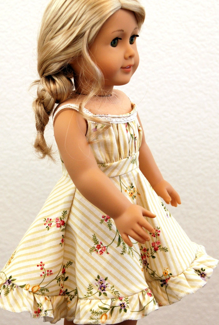 "Summer Grace Sewing Pattern by Dollhouse Designs for 18"" Dolls Sundress Dress"