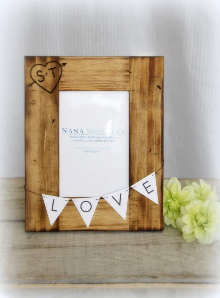 Items similar to Personalized Rustic Wood Picture Frame, Wedding ...