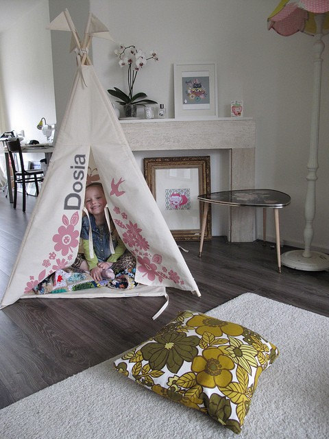 Indoor play teepee - sugar pink with appliqued name