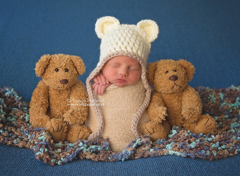 Hand Crochet Baby Hat  Ear Flap Teddy Bear Chunky PhotographyPhoto Prop Newborn12 Months Baby Boy Girl UK Seller Green