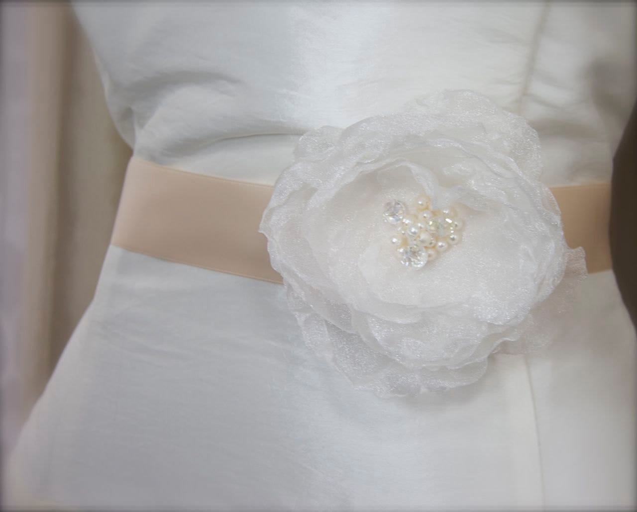 Ethereal Pearl, Crystal Shimmer Organza Flower Bridal Dress Sash
