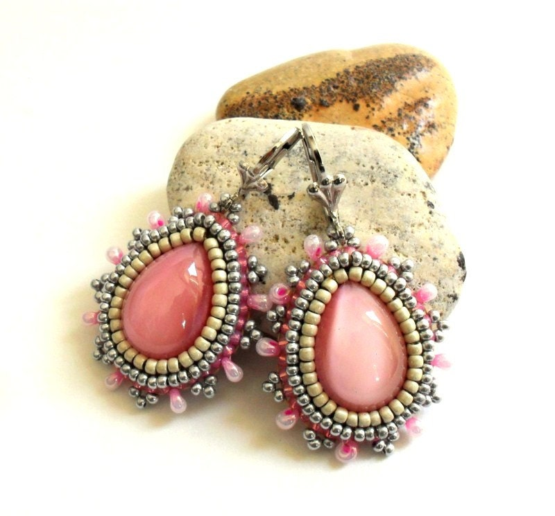 Bead Embroidery earrings with Pink Czech glass - CrownofStones