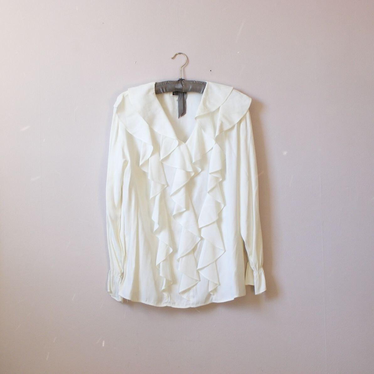 White Long Sleeve Ruffle Front Blouse 33