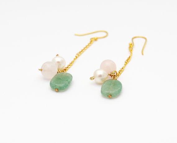 Innocence Earrings with Pearl and Aventurine - SFBeads