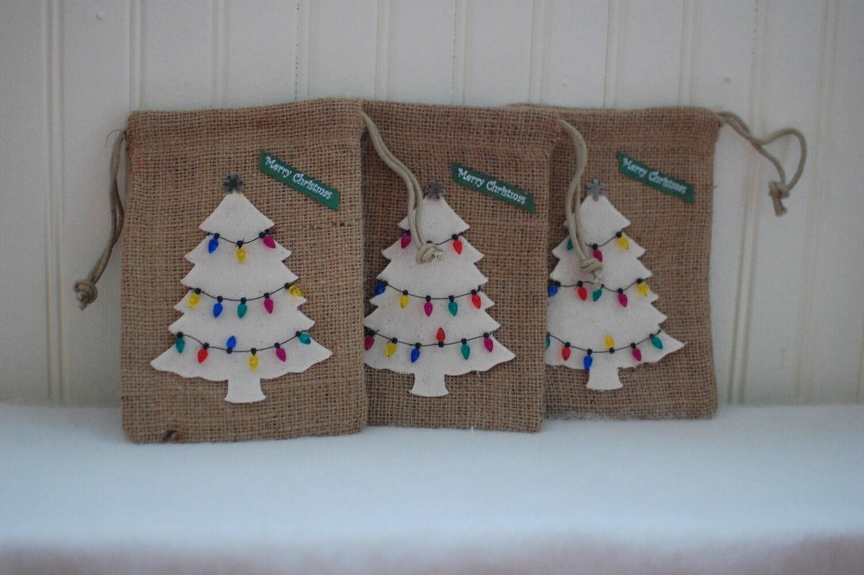 Burlap Bags - Tree - set of 3