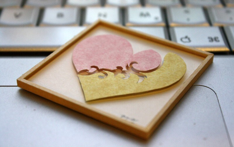 "Miniature Shadowbox Paper Wall Art, ""Heart"" Pink & Yellow made for 1:12 Scale Dollhouses"