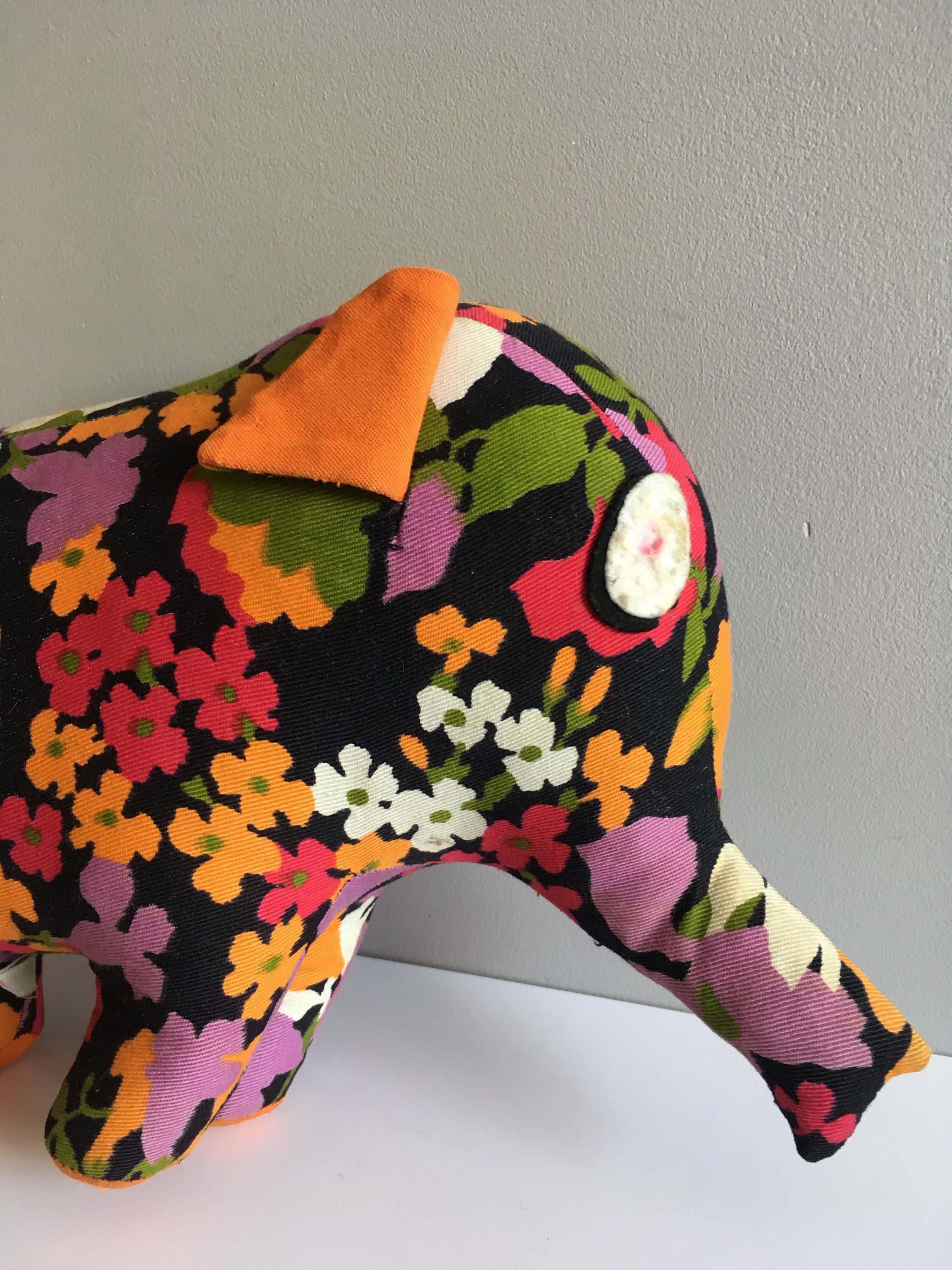 Vintage teddy Elephant, Chad Valley, Made in England flower power print.