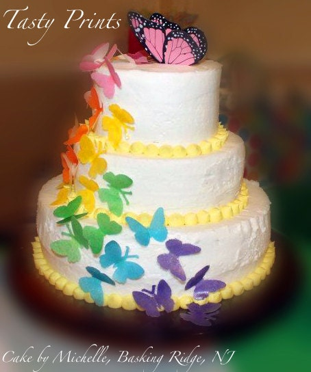 Etsy Cake Decorations : Items similar to EDIBLE - 100 Rainbow Butterflies -cupcake ...