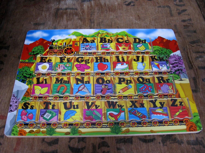 Alphabet Jigsaw Wooden Jigsaw Learning Jigsaw English Jigsaw 1980s Jigsaw Letters Jigsaw Train Jigsaw Lift Out Jigsaw Vintage Jigsaw