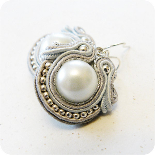 white pearl - soutache earrings in gray, silver, light blue and white - JustynaKrupkowska