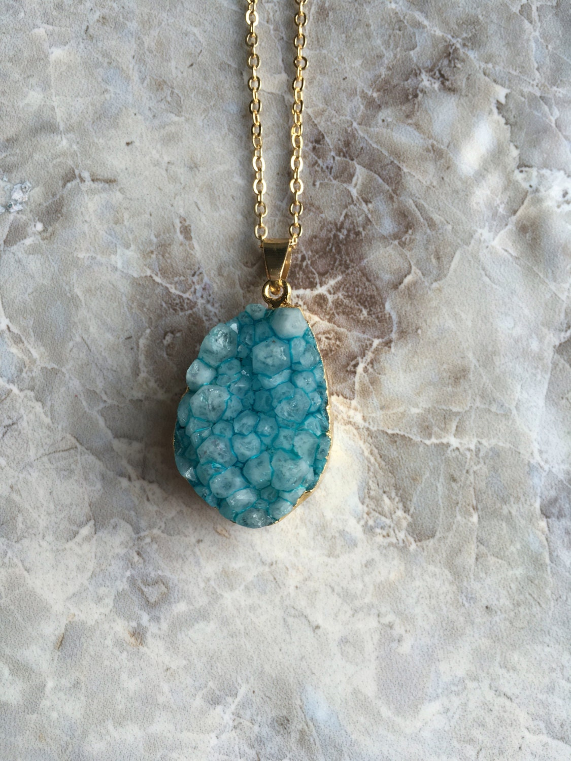 Ocean Blue Boho Agate Druzy Pendant Necklace Hippy Style Free Spirit Bohemian Gypsy Necklace Ethnic Neclace.