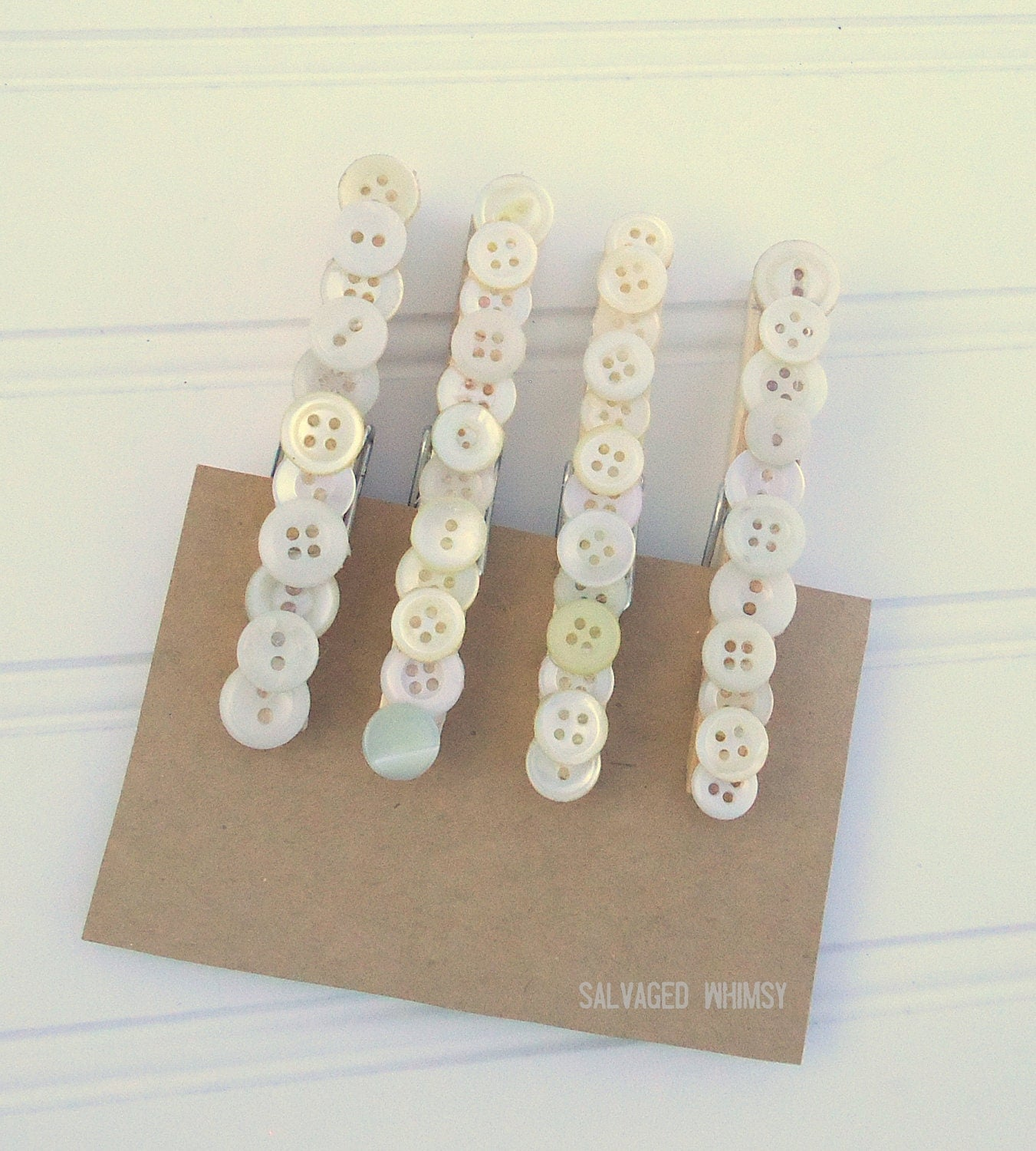 Vintage Button Clothespin Clips