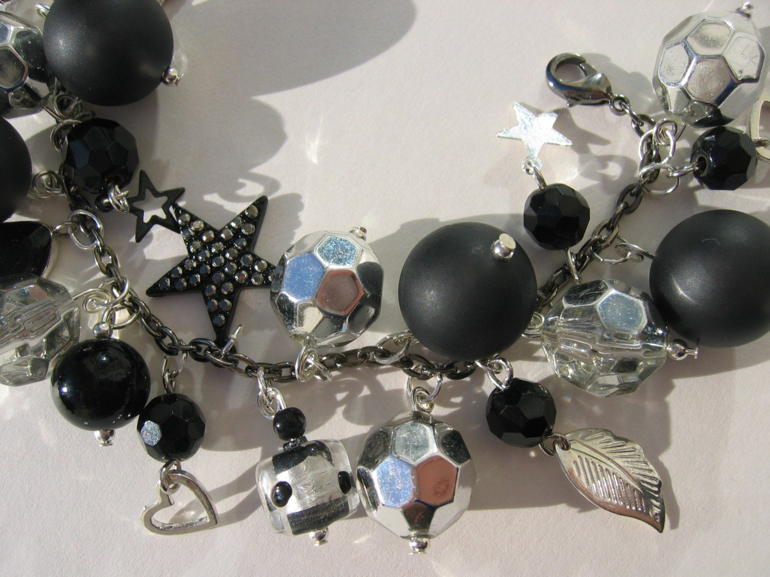 Disco Black and Silver charm bracelet
