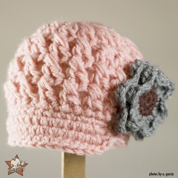 6 to 12 Months Pink Visor Beanie with Gray/Brown Flower