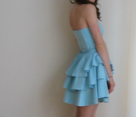 pale blue suede cupcake mini dress .small