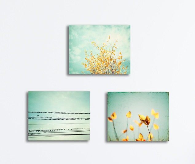 Bradberry Downs Blue Aqua Teal Light Green Yellow Wool: Set Of 3 Wall Canvas Prints Mint Yellow Light By