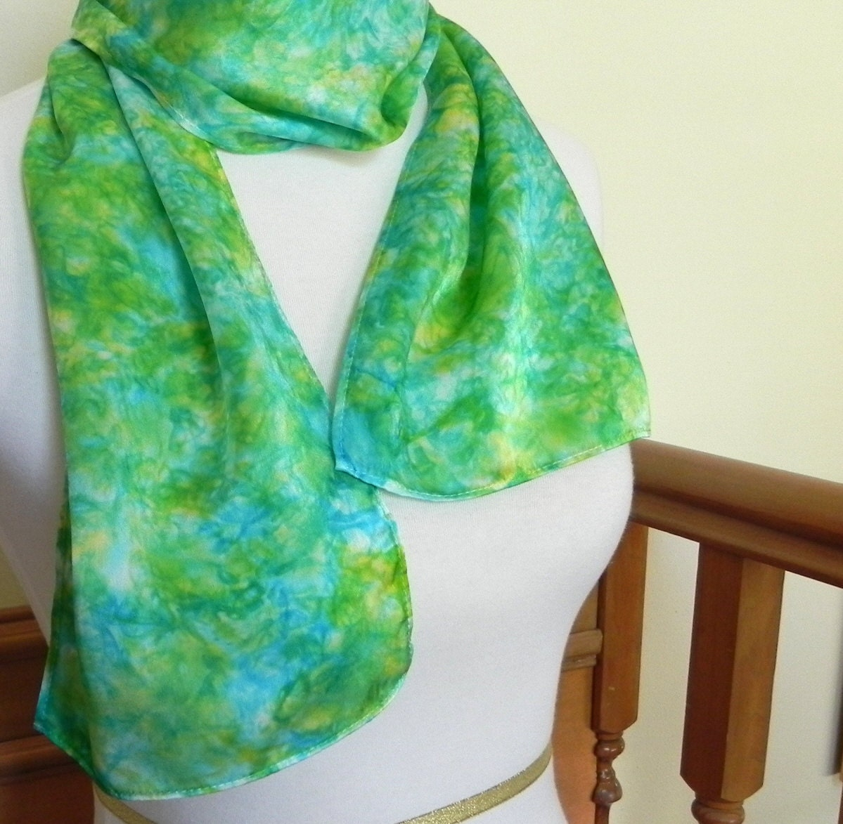 Silk Scarf Hand Dyed Shades of Green and Turquoise Blue, Ready to Ship - RosyDaysScarves