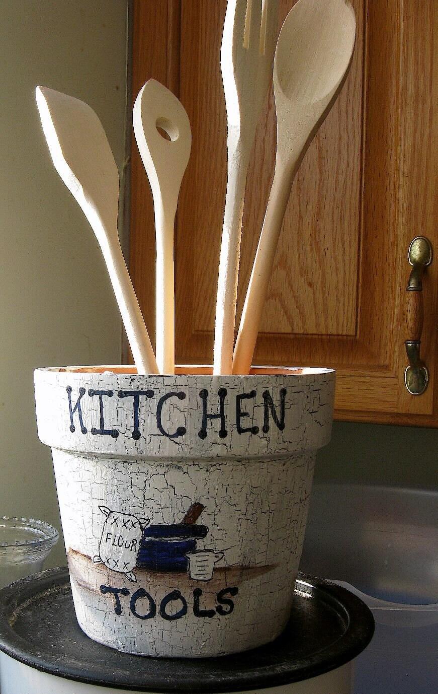 Country kitchen utensil holder by momlittr on etsy - Unique kitchen utensil holder ...