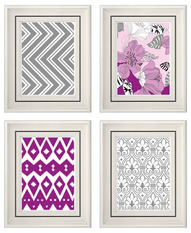 set of four modern vintage purple gray wall art by catsbeads. Black Bedroom Furniture Sets. Home Design Ideas