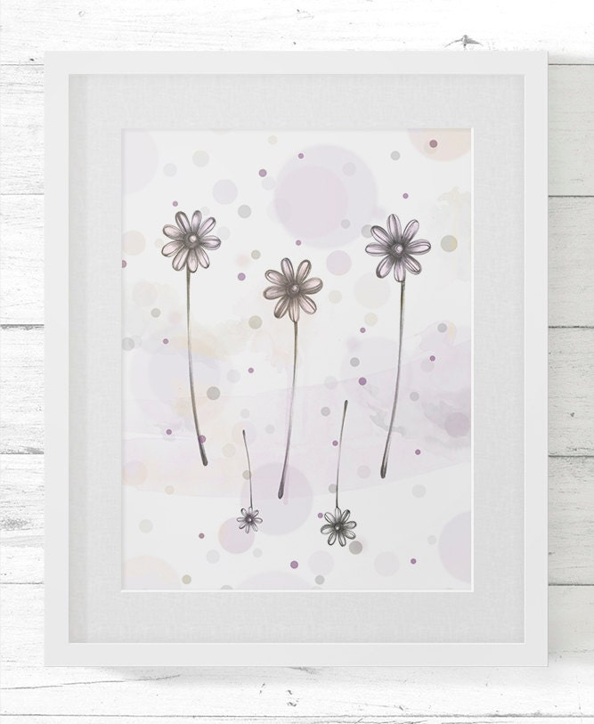 Romantic poster for house decoration - flowers design - LuckyPaperGoods
