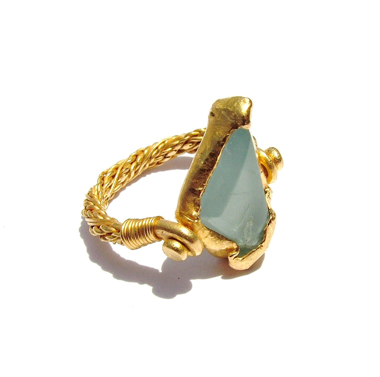 22K gold, Silky Aqua marine free form ring twisted wires rope band