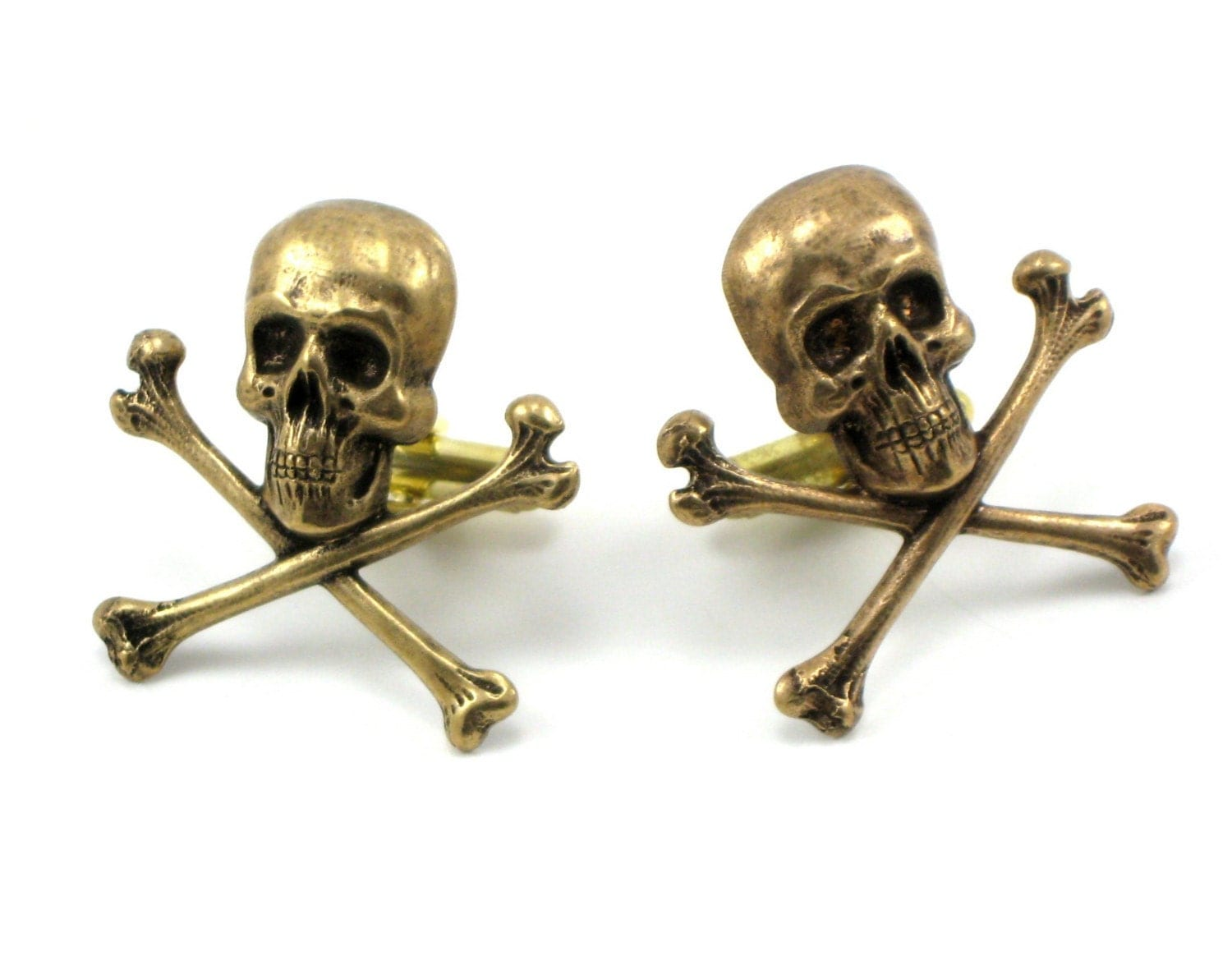 ANTIQUED BRASS PIRATE SKULL and CROSSBONES CUFF LINKS