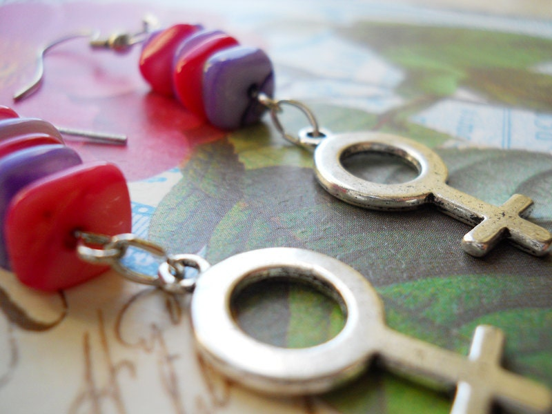 Femme Girl Earrings (Pink, Purple, Women, Feminist)