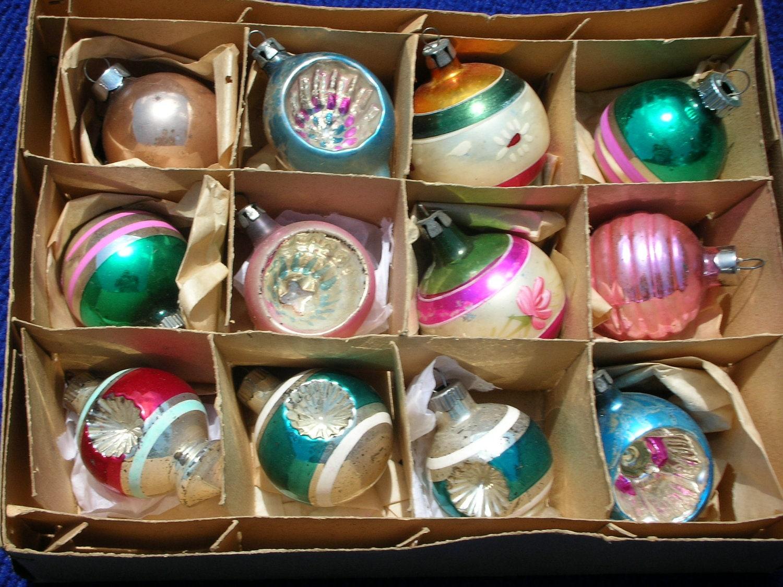 Vintage Christmas Ornaments Mercury Glass By