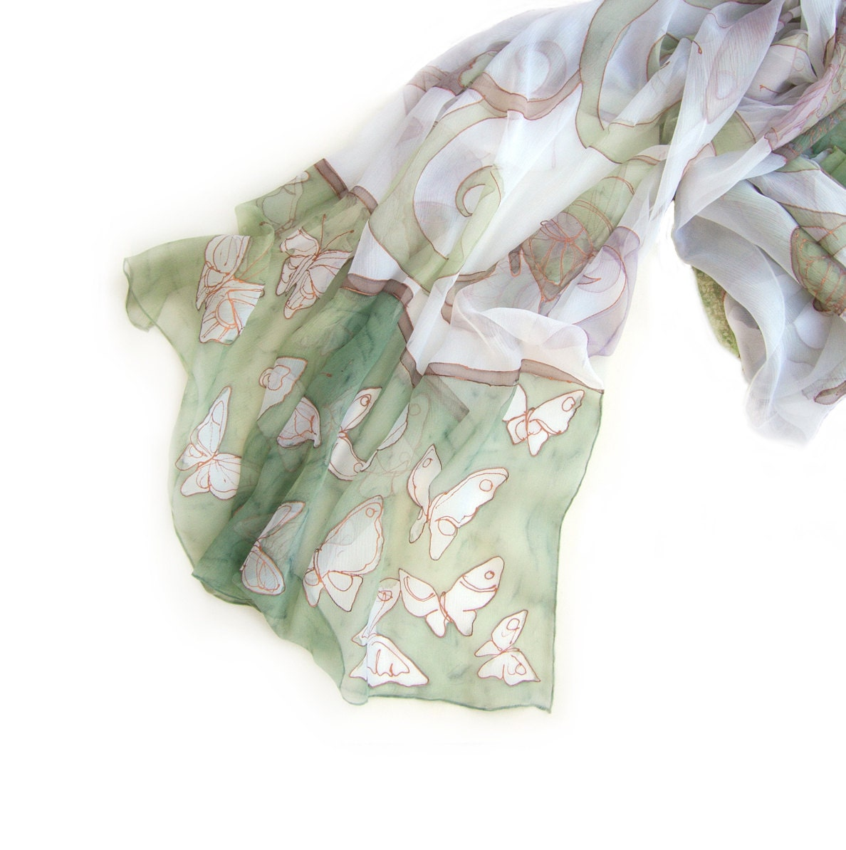Mint Butterflies hand painted silk scarf.  Hand painted shawl in pastel mint and beige and copper gutta MADE TO ORDER - klaradar