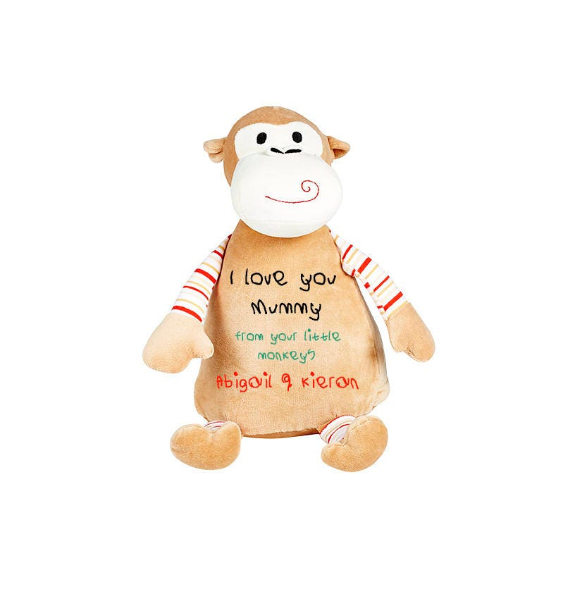 Mothers Day cuddly toy gift I love you Mummy from your little monkey Personalized Monkey Soft Toy, cute teddy, personalized embroidered