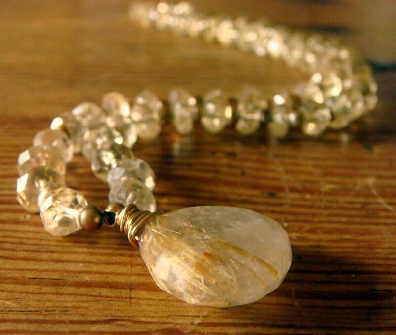 Golden Rutilated Quartz/ Citrine Necklace