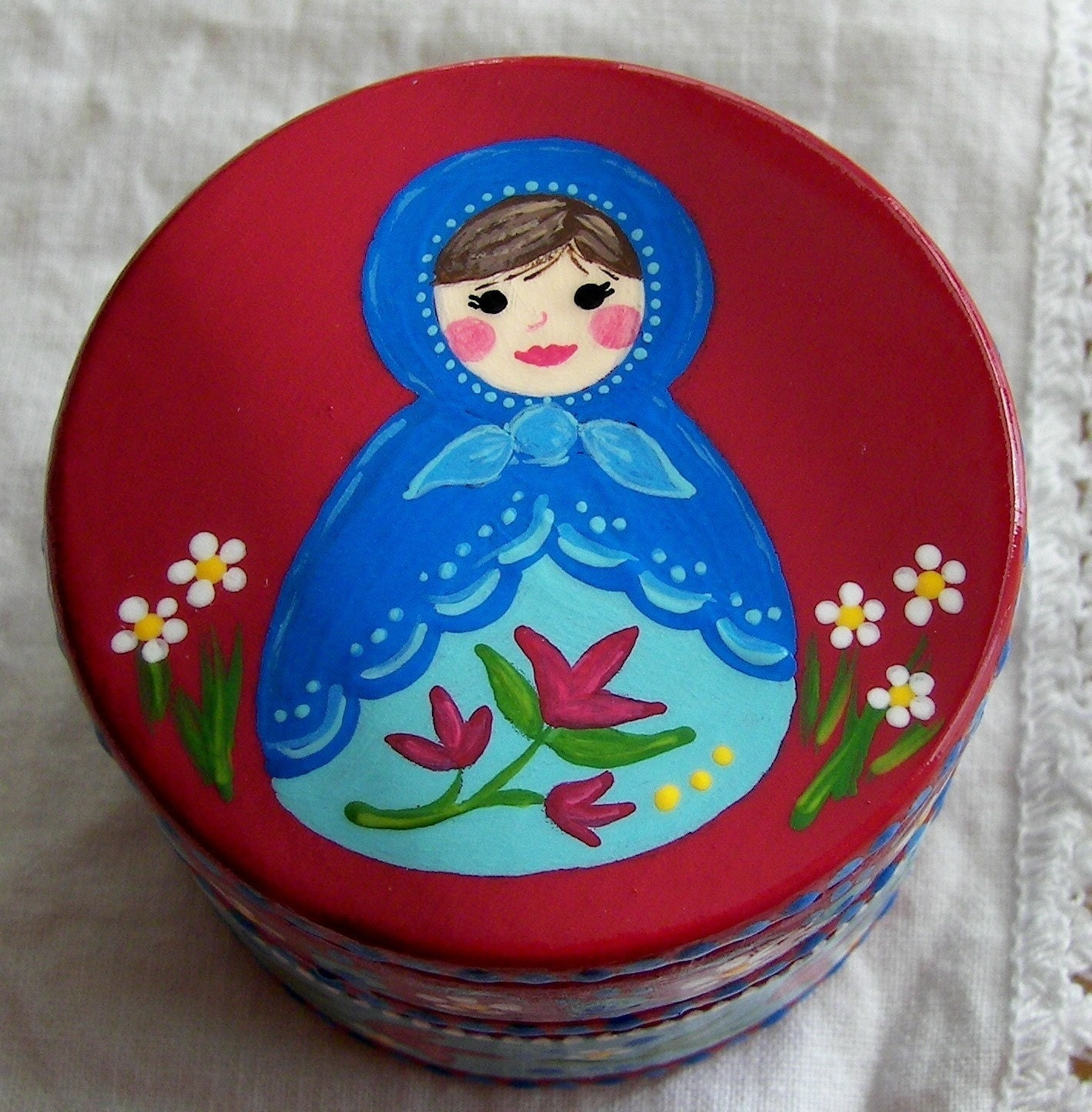 Hand Painted Love Boxes Red Matryoshka Russian Doll Box Wood