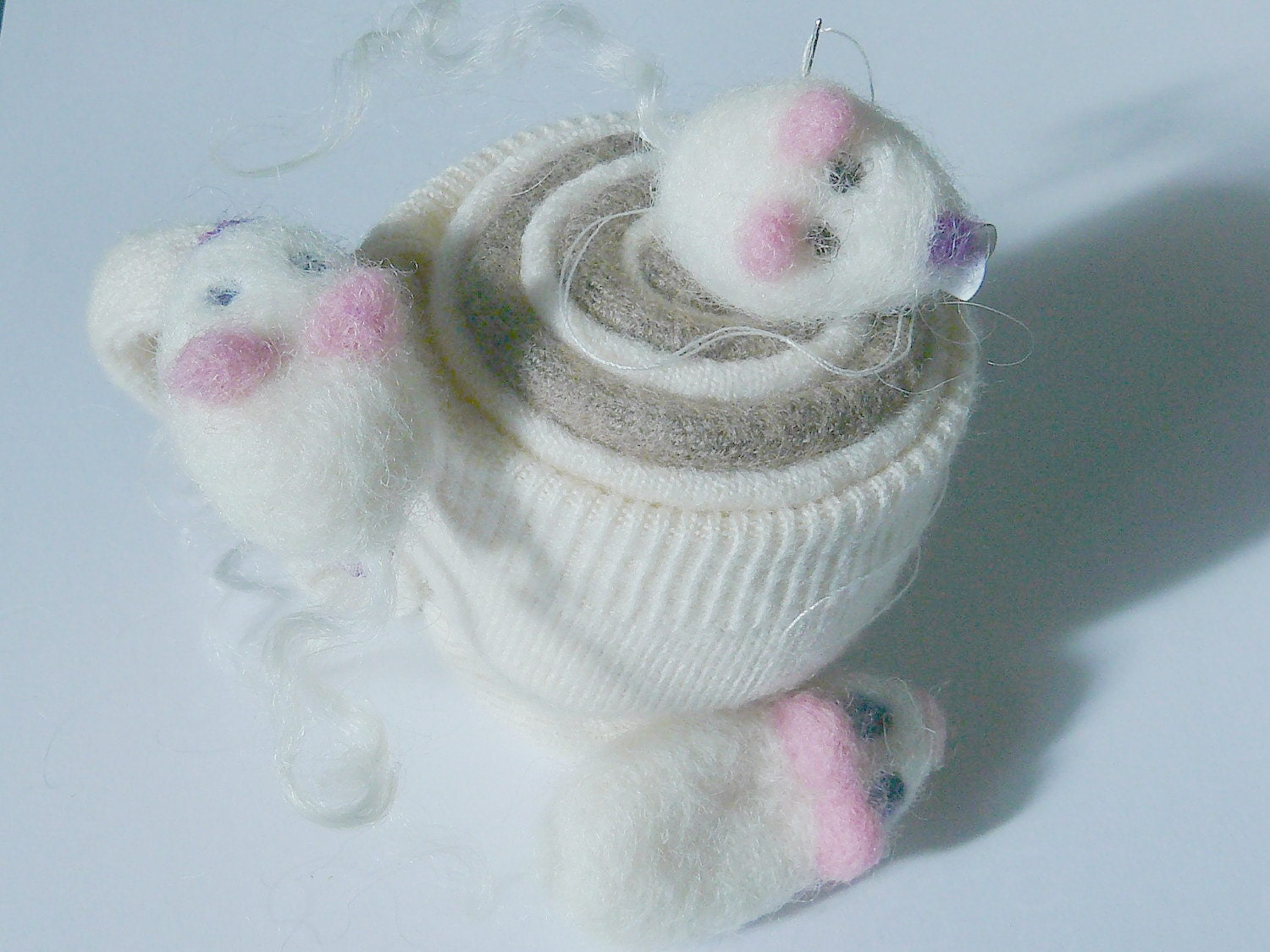 One Mouse Hair Clip or Brooch pin - Hand Felted Fiber Art