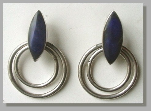Vintage Sterling Silver Earrings With Deep Blue Malachite
