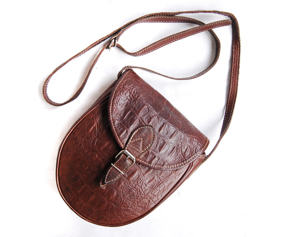 Vision Quest Brown Faux Alligator Leather Cross Body by Deconize from etsy.com