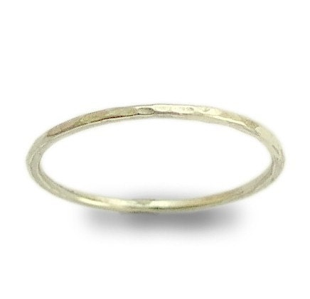 Smile -  a thin shiny hammered sterling silver band.