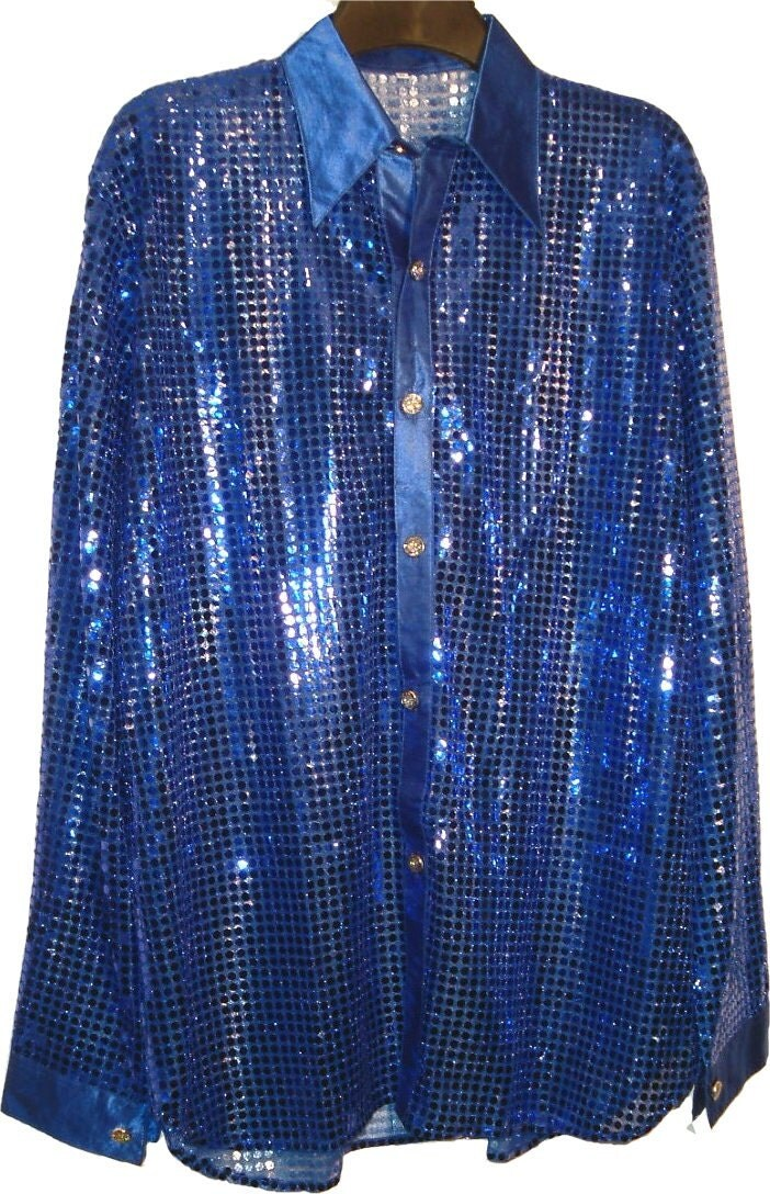 New men boy glitter sequin long sleeve button front shirt sparkle shiny stage cabaret costume party vintage 70s fancy top BLUE