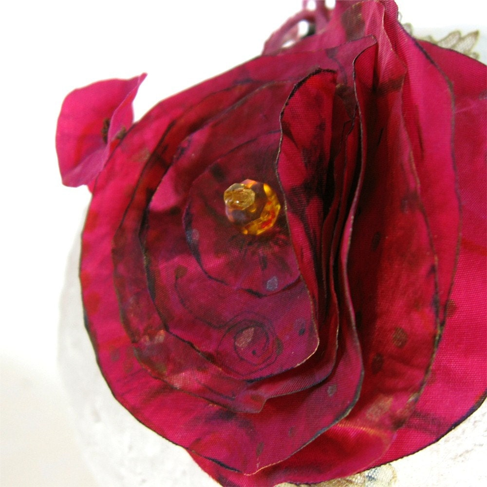 Fuschia Hand Painted Silk Fascinator or Headband