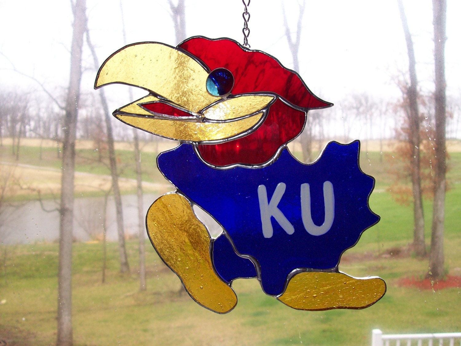 KU Jayhawk stained glass suncatcher 3D free by JeanygsStudio