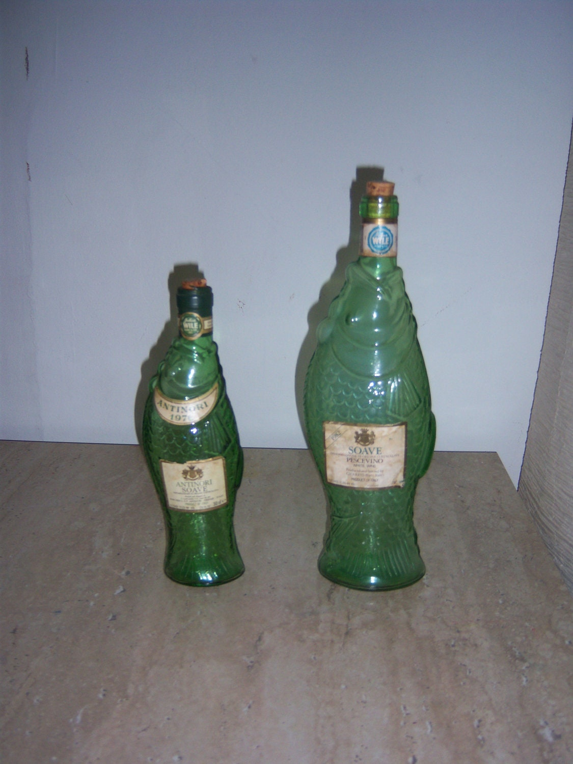 2 fish shaped italian wine bottles vintage by karenvintage for Fish wine bottle