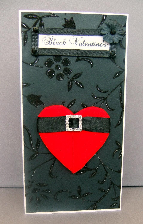 Black Valentine's Personalised Card / Handmade Greeting Card